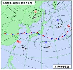 6月30日(金)9時の予想天気図