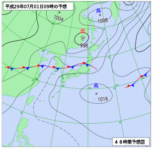 7月1日(土)9時の予想天気図