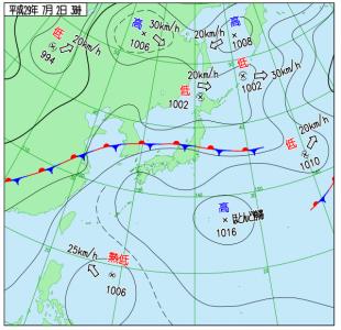 7月2日(日)3時の実況天気図
