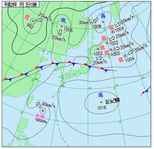 7月2日(日)15時の実況天気図