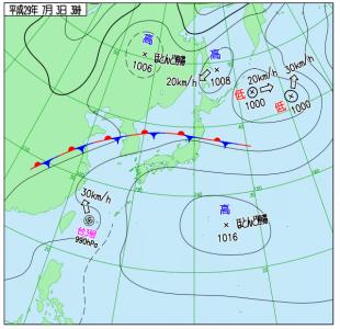 7月3日(月)3時の実況天気図
