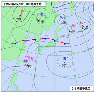 7月3日(月)9時の予想天気図