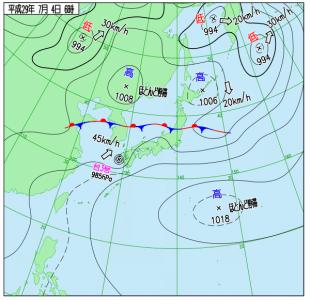 7月4日(火)6時の実況天気図