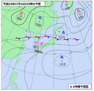 7月4日(火)9時の予想天気図