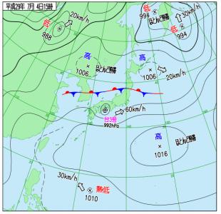 7月4日(火)15時の実況天気図