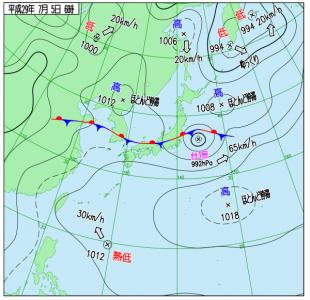 7月5日(水)6時の実況天気図