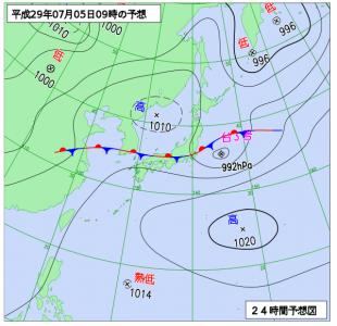 7月5日(水)9時の予想天気図