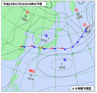 7月6日(木)9時の予想天気図