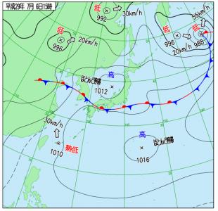 7月6日(木)15時の実況天気図