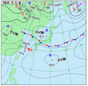 7月7日(金)3時の実況天気図