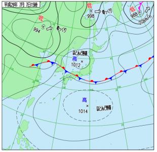 7月7日(金)15時の実況天気図