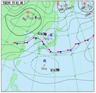 7月8日(土)3時の実況天気図