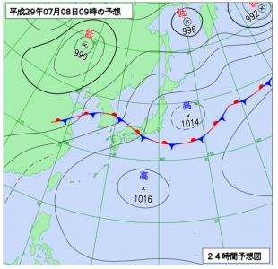 7月8日(日)9時の予想天気図