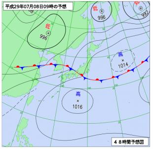 7月8日(土)9時の予想天気図