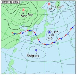 7月8日(土)15時の実況天気図
