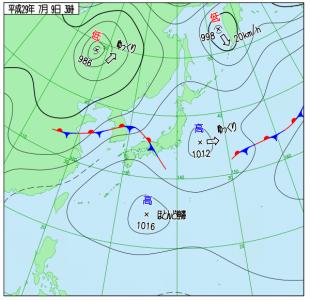 7月9日(日)3時の実況天気図