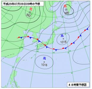 7月9日(日)9時の予想天気図