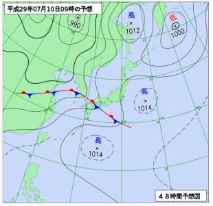 7月10日(月)9時の予想天気図