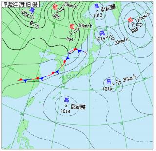 7月11日(火)6時の実況天気図