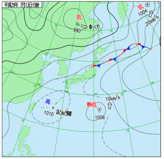 7月13日(木)15時の実況天気図