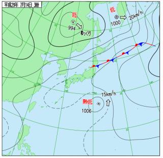 7月14日(金)3時の実況天気図