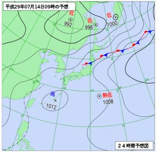 7月14日(金)9時の予想天気図