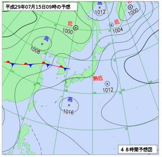 7月15日(土)9時の予想天気図