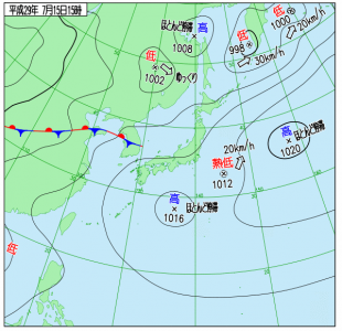 7月15日(土)15時の実況天気図