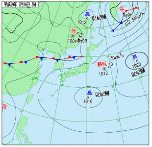 7月16日(日)3時の実況天気図