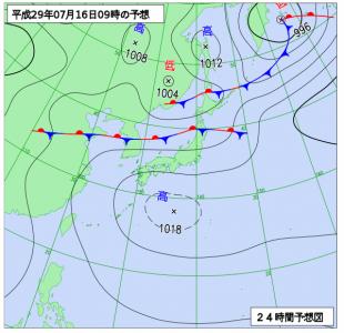 7月16日(日)9時の予想天気図