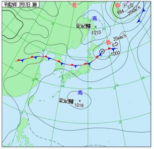 7月17日(月祝)3時の実況天気図