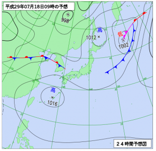 7月18日(火)9時の予想天気図