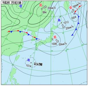 7月18日(火)15時の実況天気図