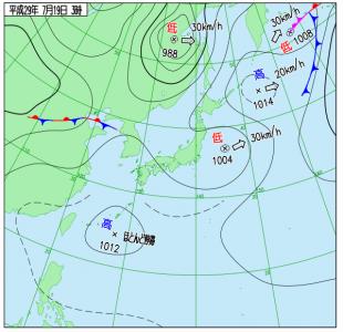 7月19日(水)3時の実況天気図
