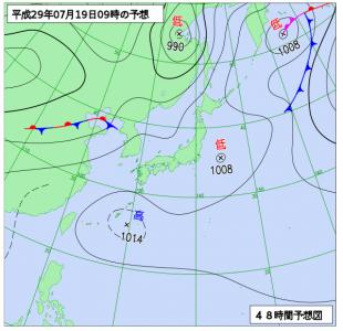 7月19日(水)9時の予想天気図