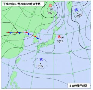 7月20日(木)9時の予想天気図