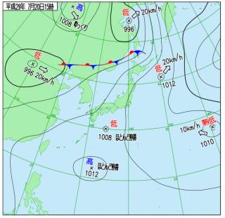 7月20日(木)15時の実況天気図