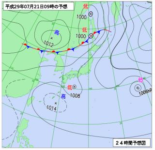 7月21日(金)9時の予想天気図