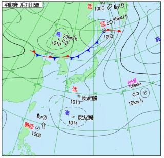 7月21日(金)15時の実況天気図
