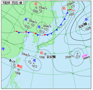 7月22日(土)6時の実況天気図