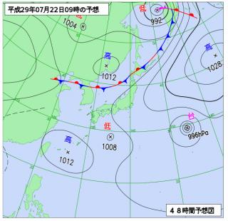7月22日(土)9時の予想天気図