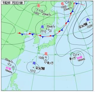 7月22日(土)15時の実況天気図
