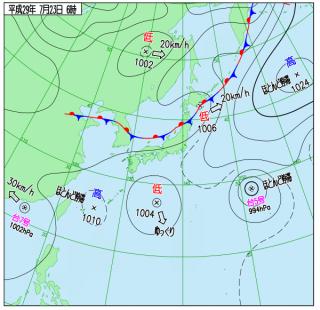 7月23日(日)6時の実況天気図