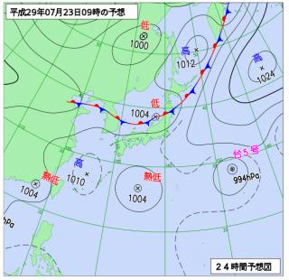 7月23日(日)9時の予想天気図
