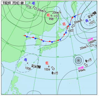 7月24日(月)6時の実況天気図