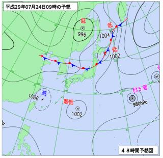 7月24日(月)9時の予想天気図