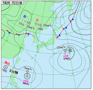 7月27日(木)15時の実況天気図