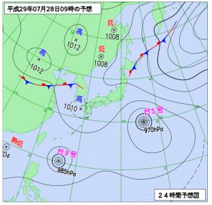 7月28日(金)9時の予想天気図