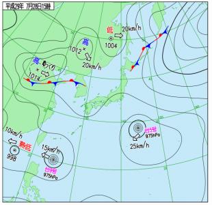 7月28日(金)15時の実況天気図