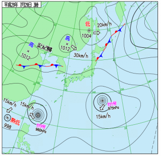 7月29日(土)3時の実況天気図
